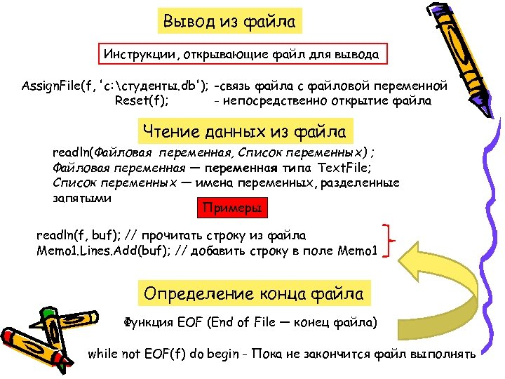 Вывод из файла Инструкции, открывающие файл для вывода Assign. File(f, 'c: студенты. db'); -связь
