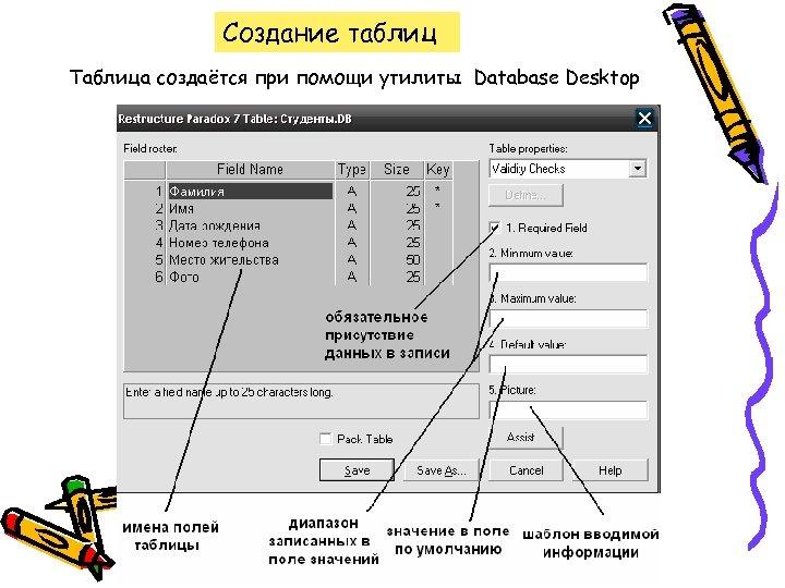 Создание таблиц Таблица создаётся при помощи утилиты Database Desktop
