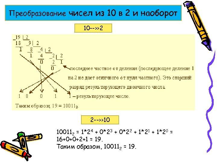 Преобразование чисел из 10 в 2 и наоборот 10 --›› 2 2 --›› 10
