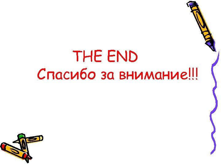 THE END Спасибо за внимание!!!