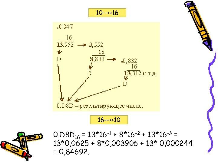 10 --›› 16 16 --›› 10 0, D 8 D 16 = 13*16 -1