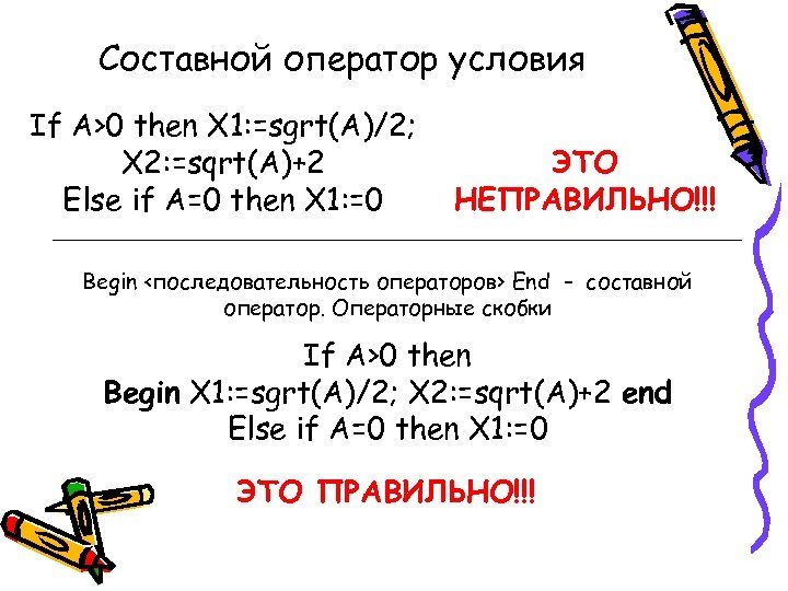 Составной оператор условия If A>0 then X 1: =sgrt(A)/2; X 2: =sqrt(A)+2 Else if