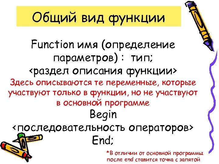 Общий вид функции Function имя (определение параметров) : тип; <раздел описания функции> Здесь описываются