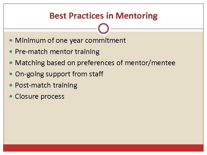 Best Practices in Mentoring Minimum of one year commitment Pre-match mentor training Matching based