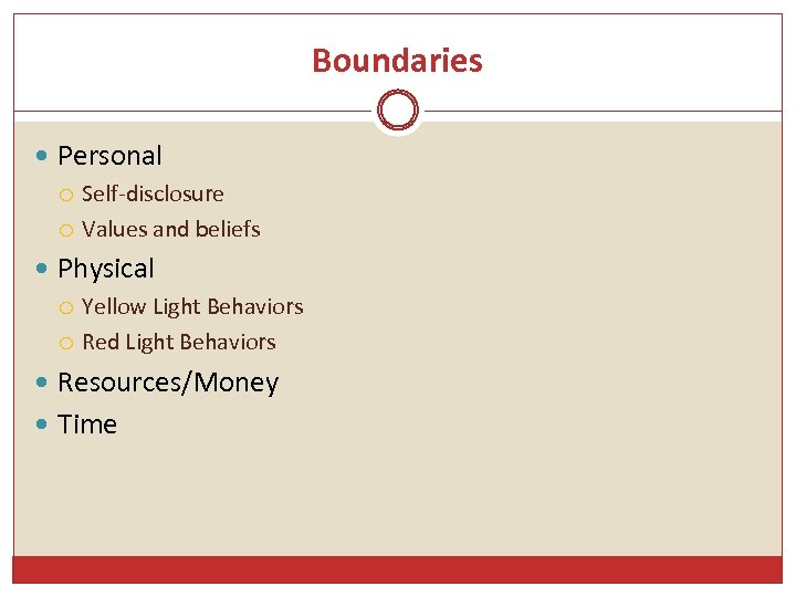 Boundaries Personal Self-disclosure Values and beliefs Physical Yellow Light Behaviors Red Light Behaviors Resources/Money
