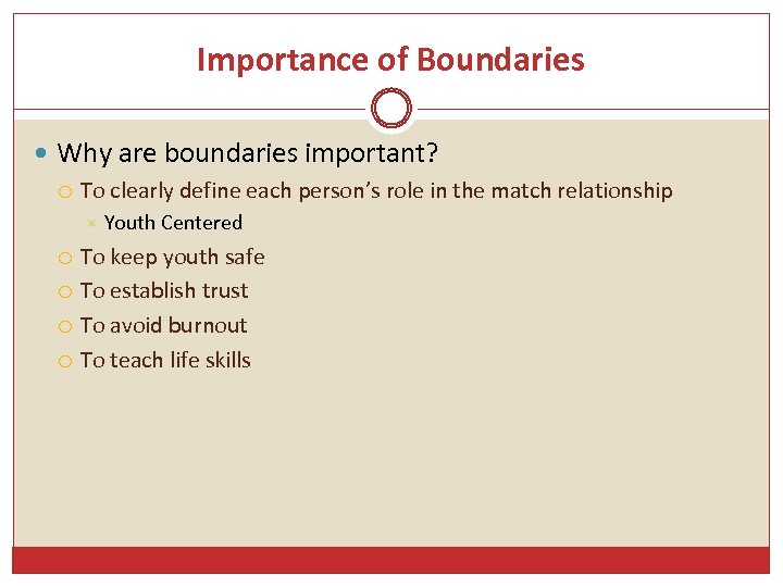 Importance of Boundaries Why are boundaries important? To clearly define each person's role in