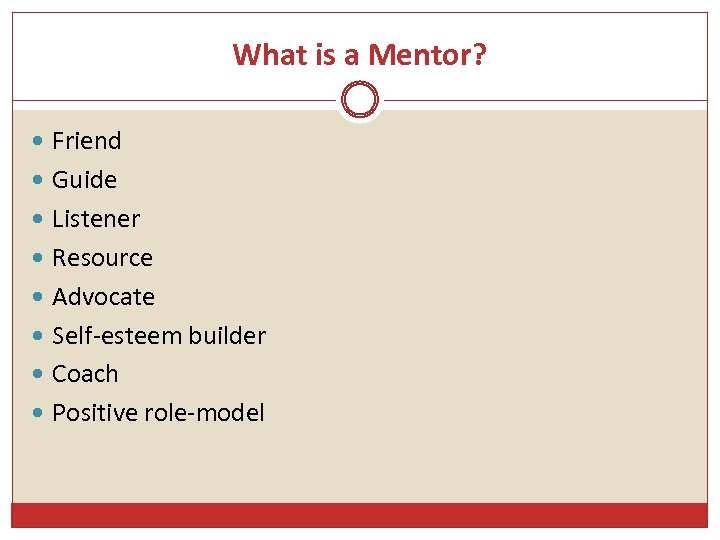 What is a Mentor? Friend Guide Listener Resource Advocate Self-esteem builder Coach Positive role-model