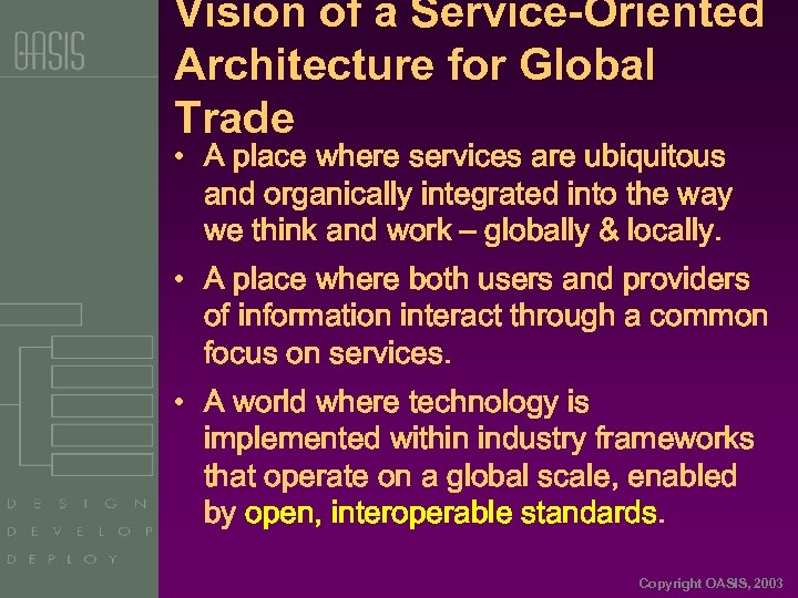 Vision of a Service-Oriented Architecture for Global Trade • A place where services are