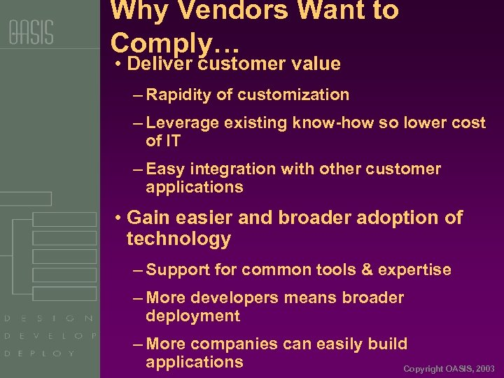 Why Vendors Want to Comply… • Deliver customer value – Rapidity of customization –