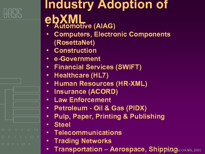 Industry Adoption of eb. XML • Automotive (AIAG) • Computers, Electronic Components (Rosetta. Net)