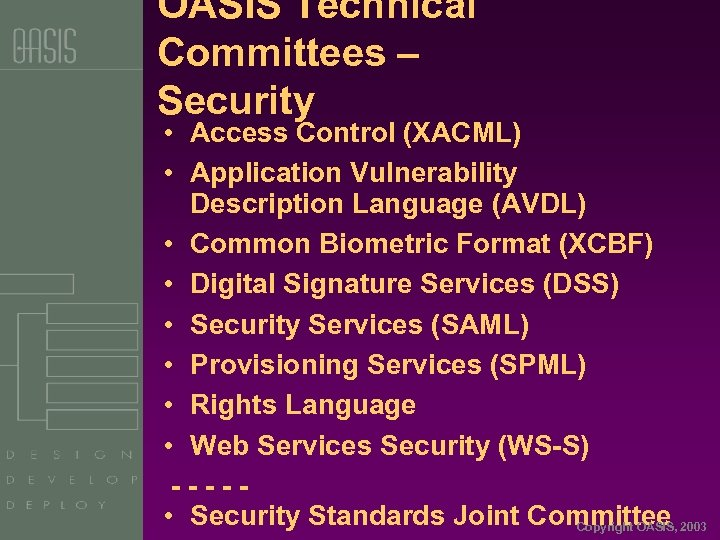 OASIS Technical Committees – Security • Access Control (XACML) • Application Vulnerability Description Language