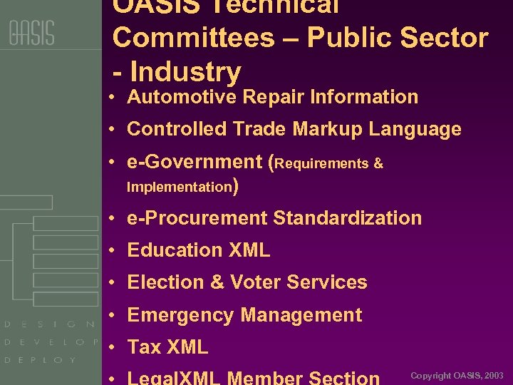 OASIS Technical Committees – Public Sector - Industry • Automotive Repair Information • Controlled