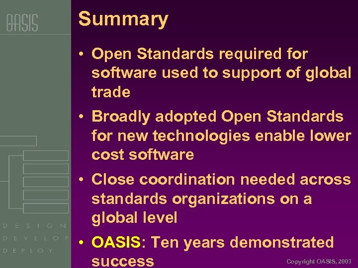 Summary • Open Standards required for software used to support of global trade •
