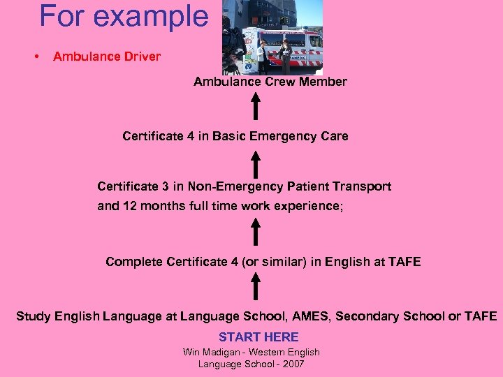 For example • Ambulance Driver Ambulance Crew Member Certificate 4 in Basic Emergency Care