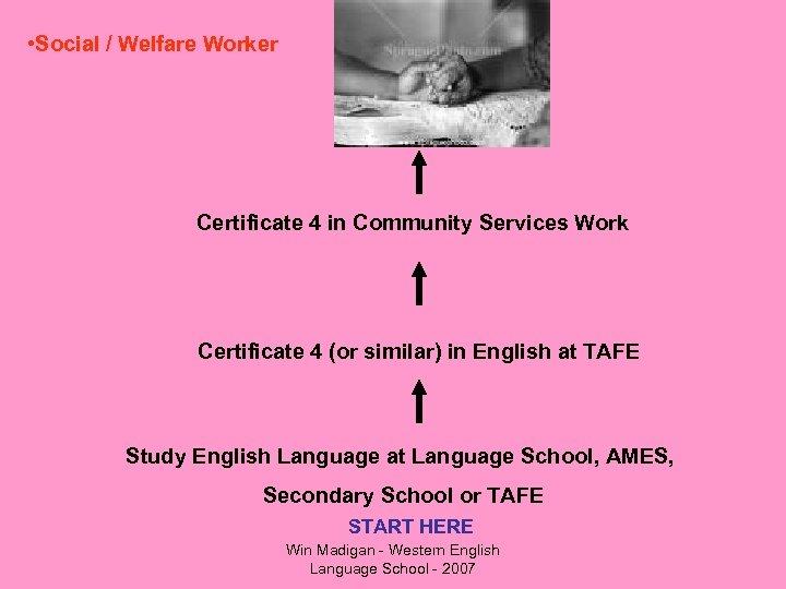 • Social / Welfare Worker Certificate 4 in Community Services Work Certificate 4