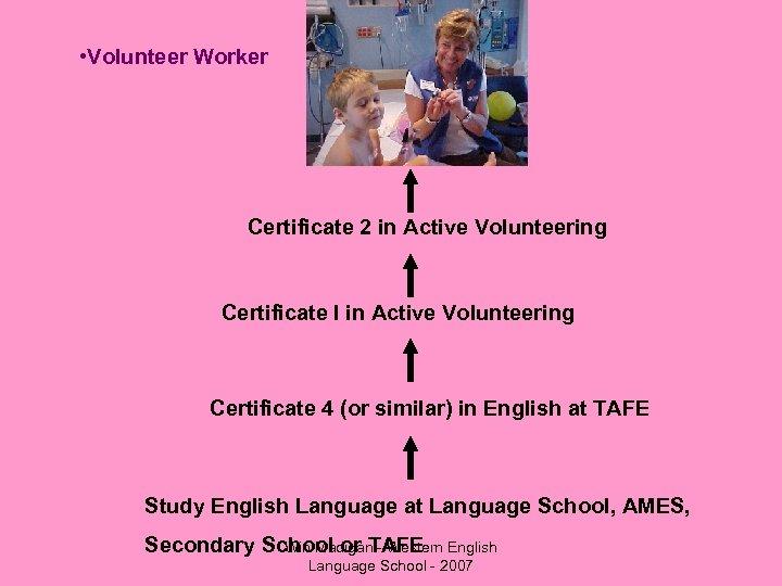• Volunteer Worker Certificate 2 in Active Volunteering Certificate I in Active Volunteering
