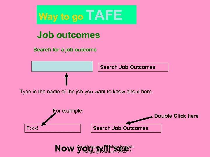 Way to go TAFE Job outcomes Search for a job outcome Search Job Outcomes