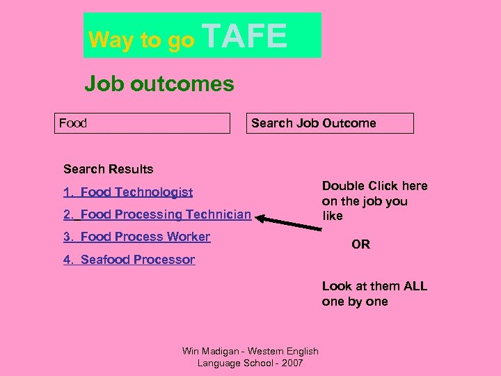 Way to go TAFE Job outcomes Food Search Job Outcome Search Results 1. Food