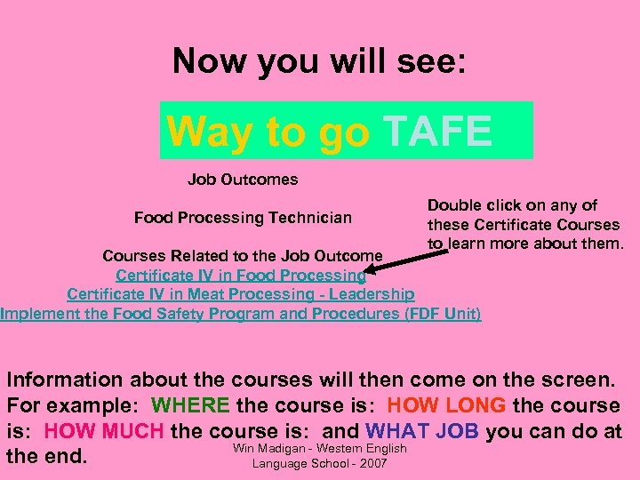 Now you will see: Way to go TAFE Job Outcomes Food Processing Technician Double
