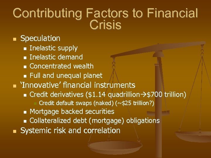 Contributing Factors to Financial Crisis Speculation Inelastic supply Inelastic demand Concentrated wealth Full and