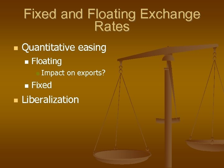 Fixed and Floating Exchange Rates Quantitative easing Floating Impact on exports? Fixed Liberalization