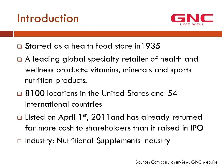 Introduction q q Started as a health food store in 1935 A leading global