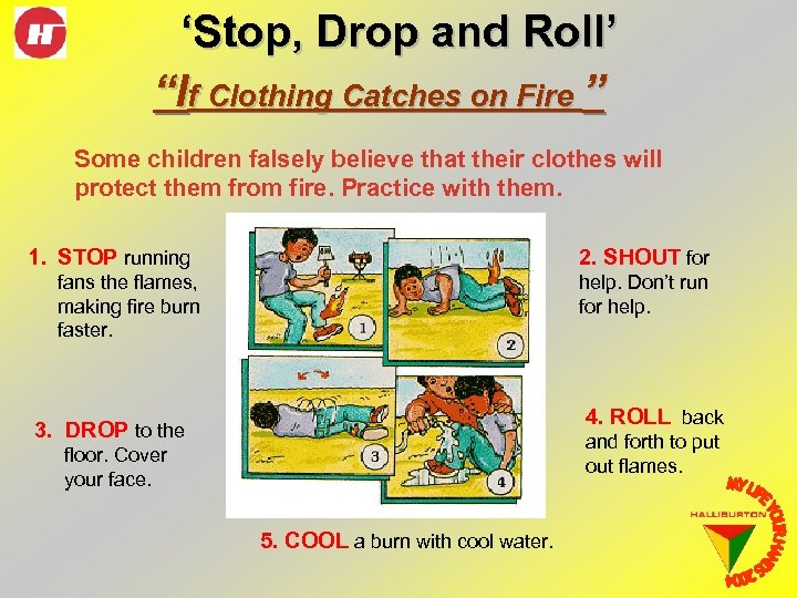 """'Stop, Drop and Roll' """"If Clothing Catches on Fire """" Some children falsely believe"""