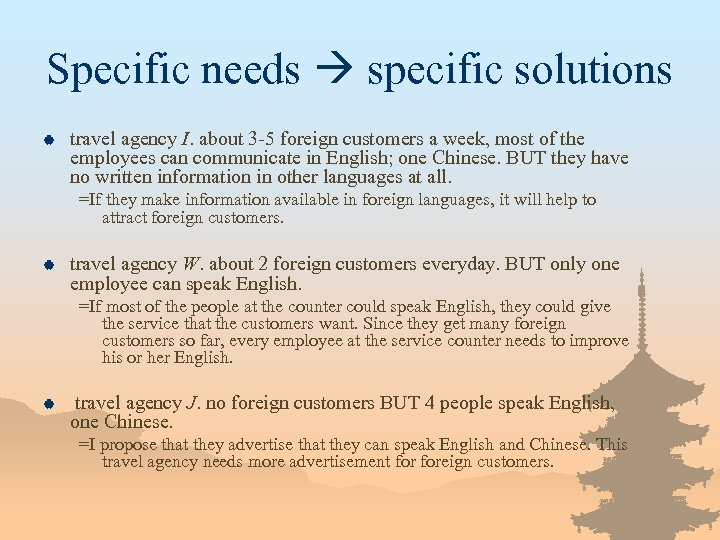 Specific needs specific solutions | travel agency I. about 3 -5 foreign customers a