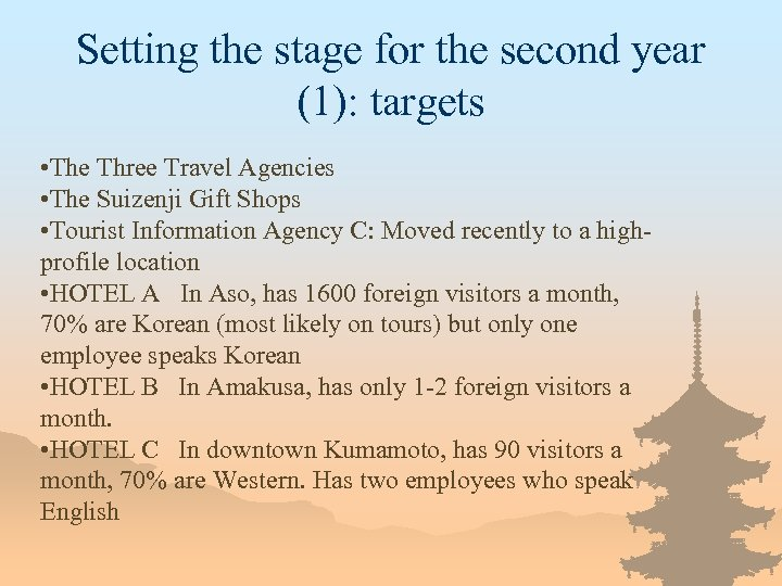 Setting the stage for the second year (1): targets • The Three Travel Agencies