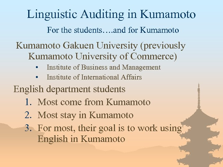 Linguistic Auditing in Kumamoto For the students…. and for Kumamoto Gakuen University (previously Kumamoto