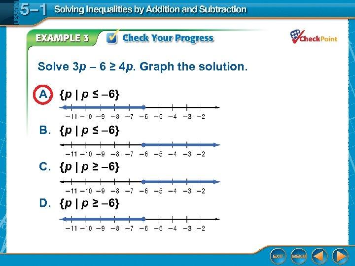 Solve 3 p – 6 ≥ 4 p. Graph the solution. A. {p |