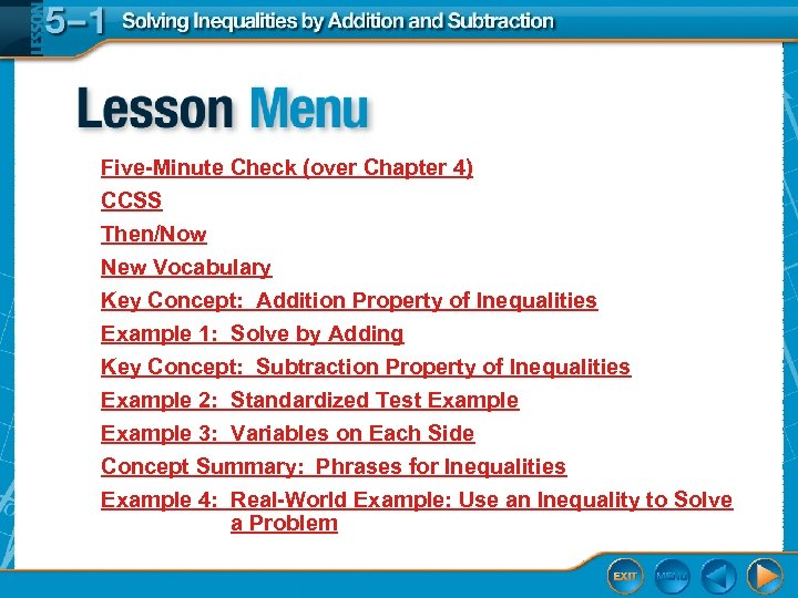 Five-Minute Check (over Chapter 4) CCSS Then/Now New Vocabulary Key Concept: Addition Property of