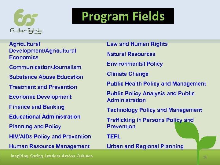 Program Fields Agricultural Development/Agricultural Economics Communication/Journalism Substance Abuse Education Treatment and Prevention Economic Development