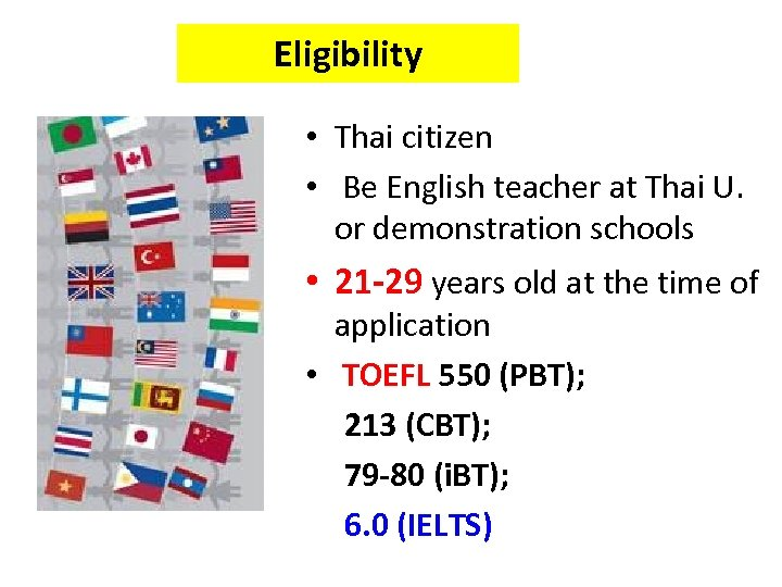 Eligibility • Thai citizen • Be English teacher at Thai U. or demonstration schools