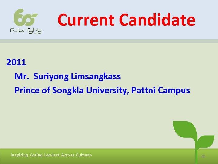 Current Candidate 2011 Mr. Suriyong Limsangkass Prince of Songkla University, Pattni Campus Inspiring Caring