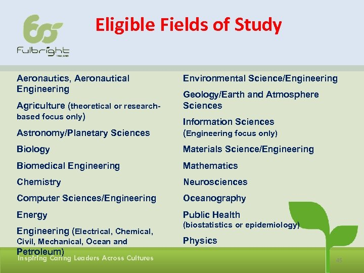 Eligible Fields of Study Aeronautics, Aeronautical Engineering Agriculture (theoretical or researchbased focus only) Environmental