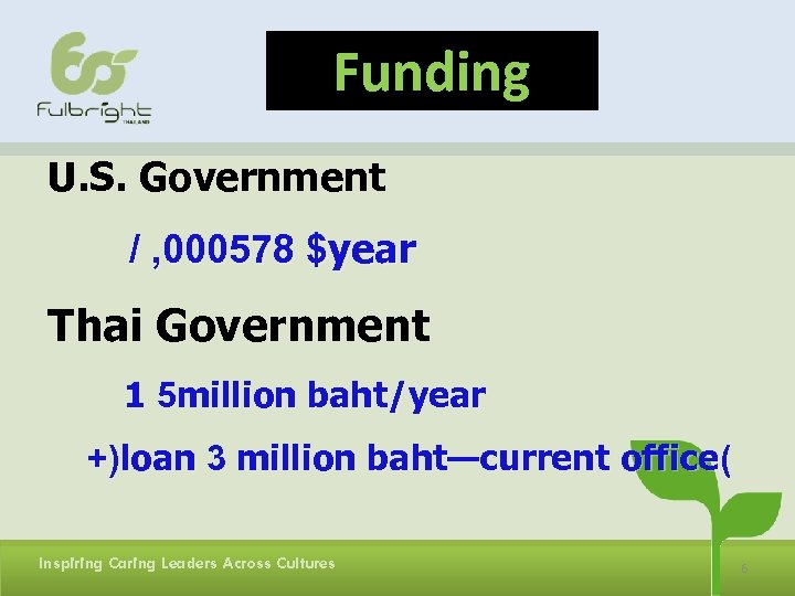 Funding U. S. Government / , 000578 $year Thai Government 1 5 million baht/year