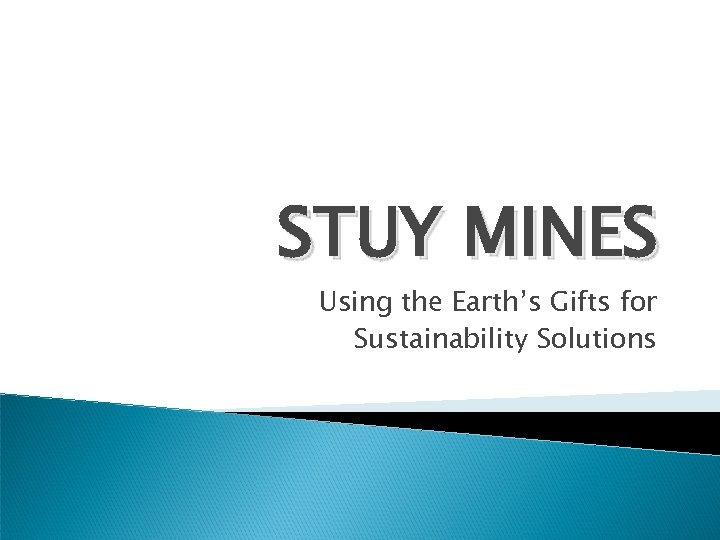 STUY MINES Using the Earth's Gifts for Sustainability Solutions