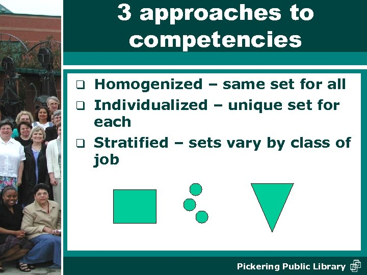3 approaches to competencies Homogenized – same set for all q Individualized – unique