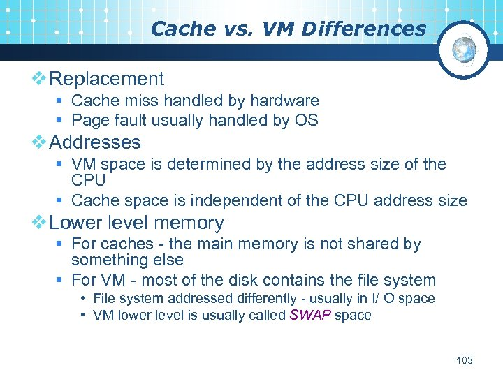 Cache vs. VM Differences v Replacement § Cache miss handled by hardware § Page