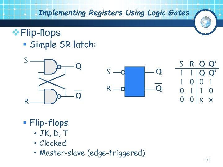 Implementing Registers Using Logic Gates v. Flip-flops § Simple SR latch: S Q Q