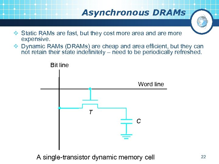 Asynchronous DRAMs v Static RAMs are fast, but they cost more area and are