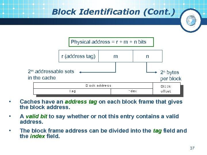 Block Identification (Cont. ) Physical address = r + m + n bits r