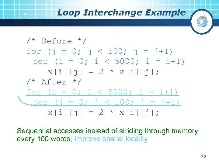 Loop Interchange Example /* Before */ for (j = 0; j < 100; j