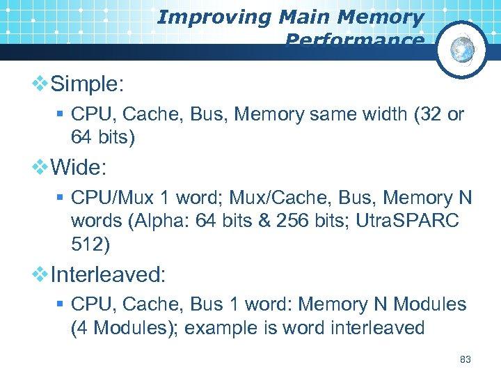 Improving Main Memory Performance v. Simple: § CPU, Cache, Bus, Memory same width (32