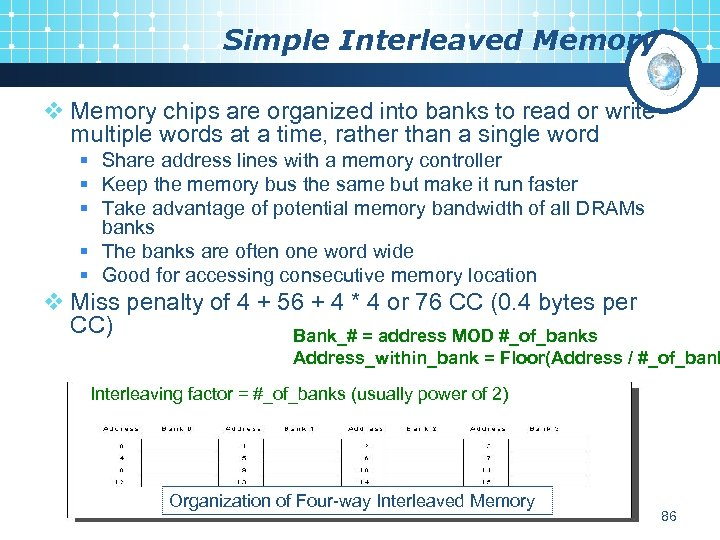 Simple Interleaved Memory v Memory chips are organized into banks to read or write