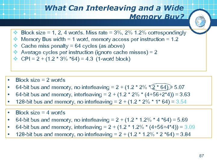 What Can Interleaving and a Wide Memory Buy? v v v Block size =