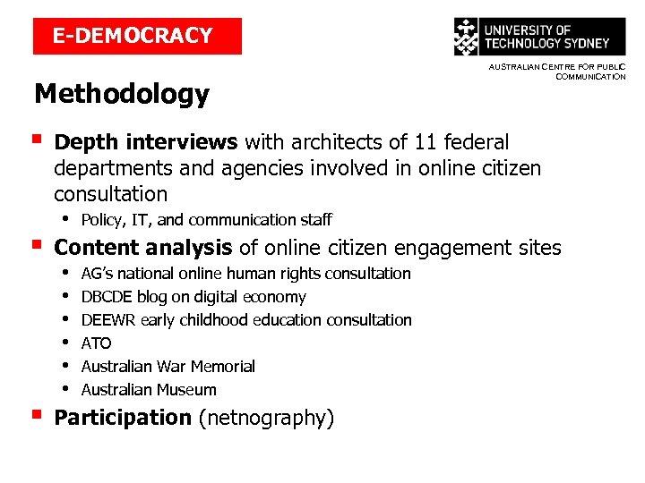 E-DEMOCRACY Methodology § § § AUSTRALIAN CENTRE FOR PUBLIC COMMUNICATION Depth interviews with architects