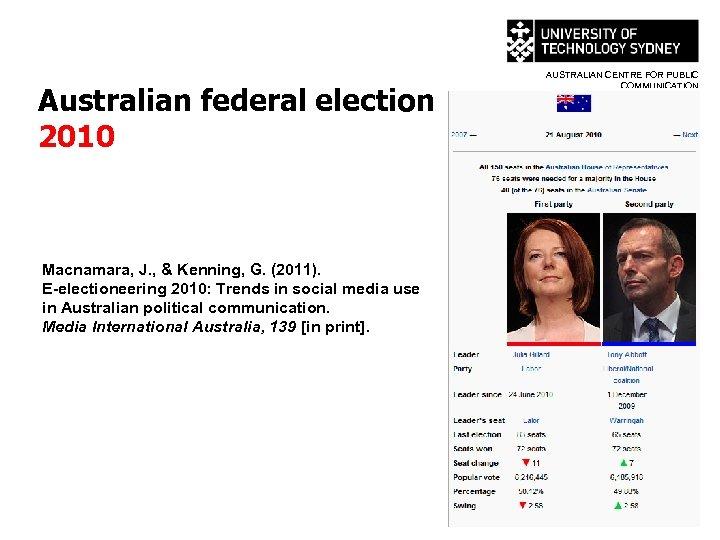 Australian federal election 2010 Macnamara, J. , & Kenning, G. (2011). E-electioneering 2010: Trends