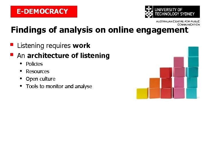E-DEMOCRACY AUSTRALIAN CENTRE FOR PUBLIC COMMUNICATION Findings of analysis on online engagement § §